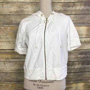Loft Short White Full Zip Jacket, Sz Large